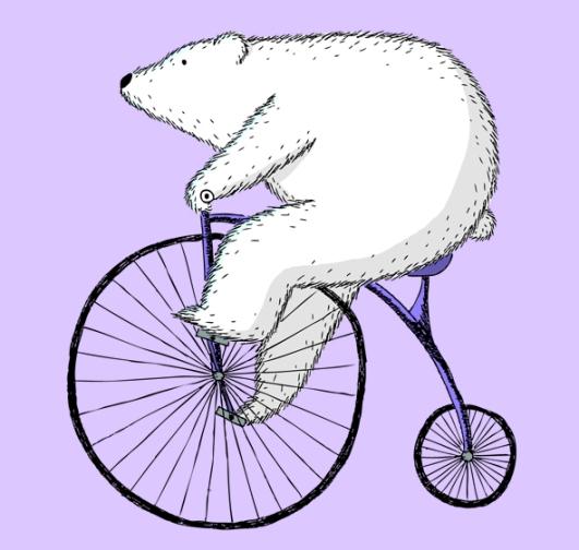 Polar Bear on a Bike